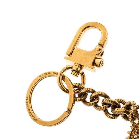 Dolce&Gabbana Red Heart Charm Textured Gold Tone Key Chain Image 4