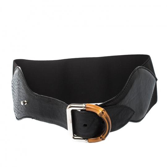 Gucci Black Leather and Elastic Fabric Band Bamboo Buckle Waist Belt 65CM Image 1