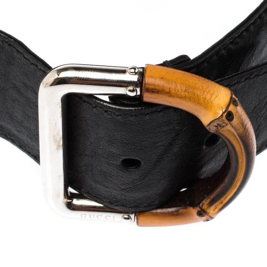 Gucci Black Leather and Elastic Fabric Band Bamboo Buckle Waist Belt 65CM Image 2