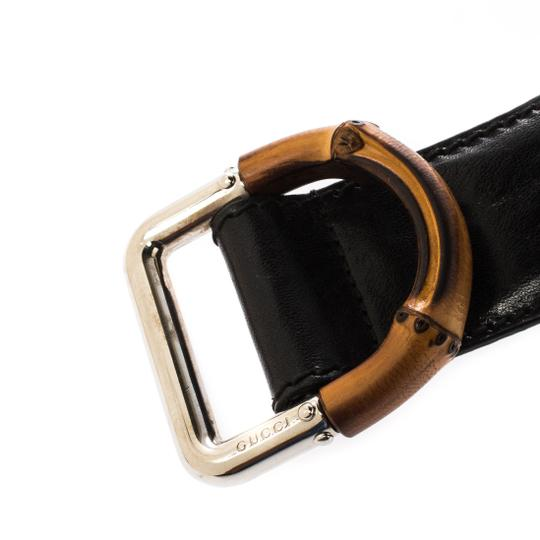 Gucci Black Leather and Elastic Fabric Band Bamboo Buckle Waist Belt 65CM Image 6