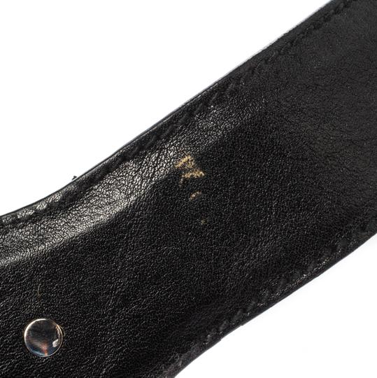 Gucci Black Leather and Elastic Fabric Band Bamboo Buckle Waist Belt 65CM Image 8