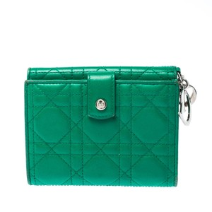 Dior Dior Green Leather Compact Wallet