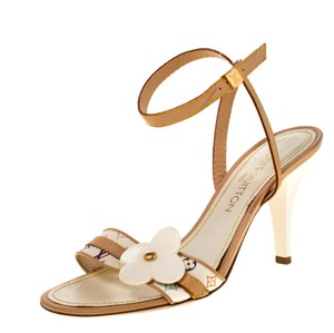 Louis Vuitton Open Toe Ankle Strap Beige Sandals