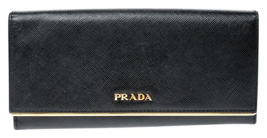 Prada Black Saffiano Metal Leather Metal Bar Wallet Image 0