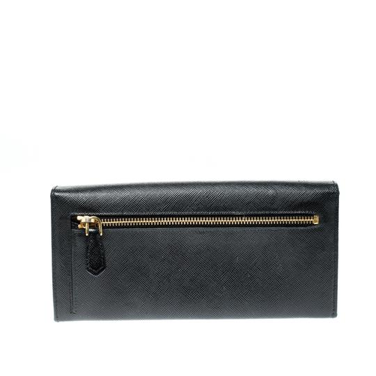 Prada Black Saffiano Metal Leather Metal Bar Wallet Image 1