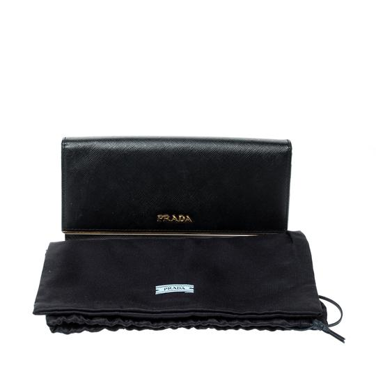 Prada Black Saffiano Metal Leather Metal Bar Wallet Image 11