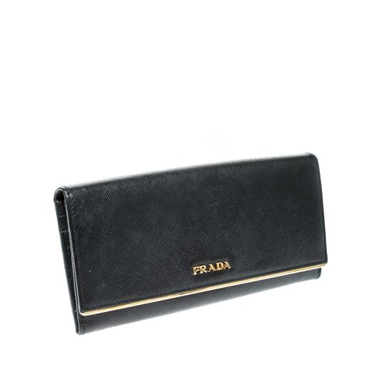 Prada Black Saffiano Metal Leather Metal Bar Wallet Image 2