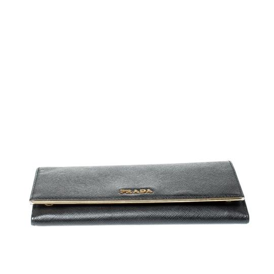 Prada Black Saffiano Metal Leather Metal Bar Wallet Image 3