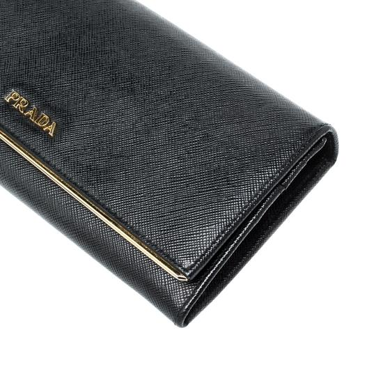 Prada Black Saffiano Metal Leather Metal Bar Wallet Image 4