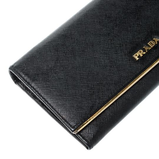 Prada Black Saffiano Metal Leather Metal Bar Wallet Image 5