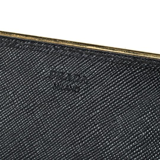 Prada Black Saffiano Metal Leather Metal Bar Wallet Image 6