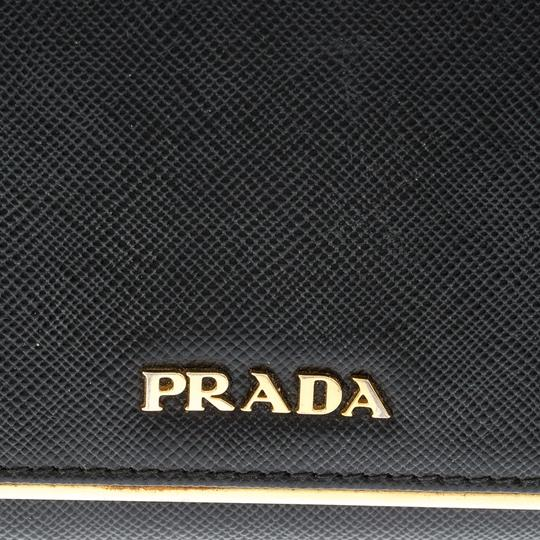 Prada Black Saffiano Metal Leather Metal Bar Wallet Image 9