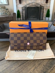 Louis Vuitton 2019 new Emilie Wallet Damier Ebene Rose Ballerine Box bow dustbag tag