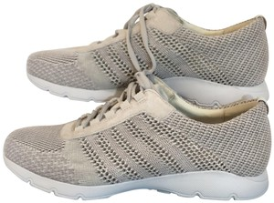Dansko Adrianne Comfort Sneakers Lace Up Lightweright Mesh Washed Knit Ivory Athletic
