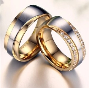 His Her Rings Two Tone 18k Gold Plated Titanium Cz Order Sizes Women's Wedding Band Set