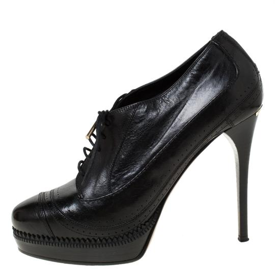 Burberry Leather Lace Platform Ankle Black Boots Image 1