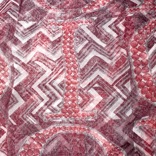 Dior Dior Burgundy Logo and Chevron Printed Silk Scarf Image 1