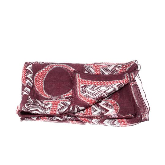 Dior Dior Burgundy Logo and Chevron Printed Silk Scarf Image 2