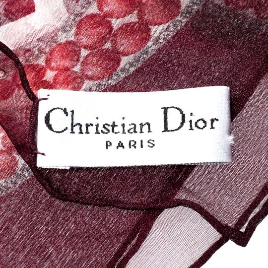 Dior Dior Burgundy Logo and Chevron Printed Silk Scarf Image 4