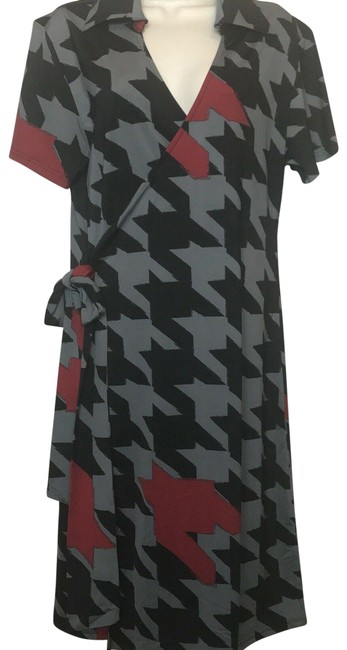 Item - Red Black & White Jane Houndstooth Pop Wrap Mid-length Work/Office Dress Size 8 (M)