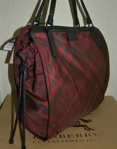 Burberry Check Overnight Packable Tote in Bright Burgundy