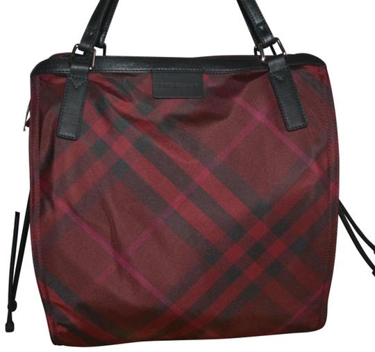 Burberry Check Overnight Packable Tote in Bright Burgundy Image 1