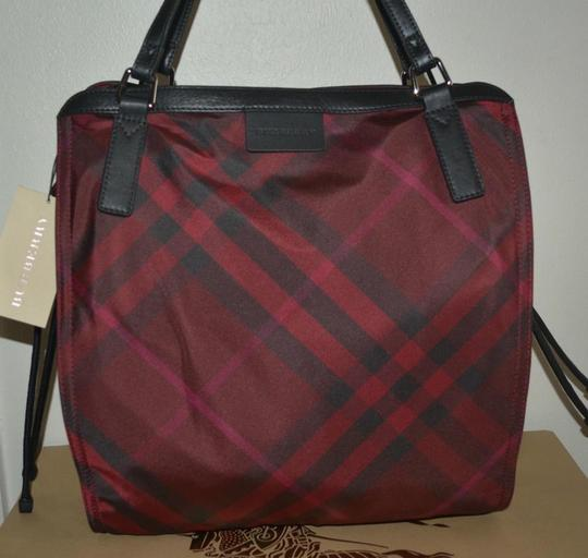 Burberry Check Overnight Packable Tote in Bright Burgundy Image 2