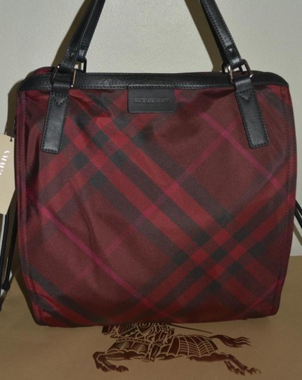 Burberry Check Overnight Packable Tote in Bright Burgundy Image 5