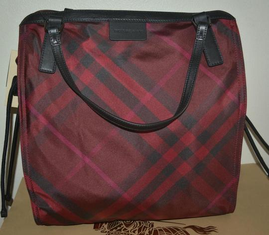 Burberry Check Overnight Packable Tote in Bright Burgundy Image 6