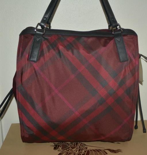 Burberry Check Overnight Packable Tote in Bright Burgundy Image 7