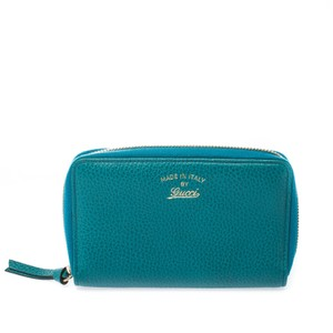 Gucci Gucci Teal Leather Logo Zip Around Wallet