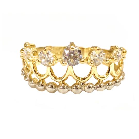 Other (2275) 14K Gold CZ Crown Ring Image 3