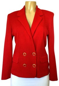 St. John Jacket Double Breasted Knit Sweater red Blazer
