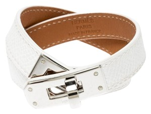 Hermès Hermes Kelly Double Tour White Leather Palladium Plated Wrap Bracelet
