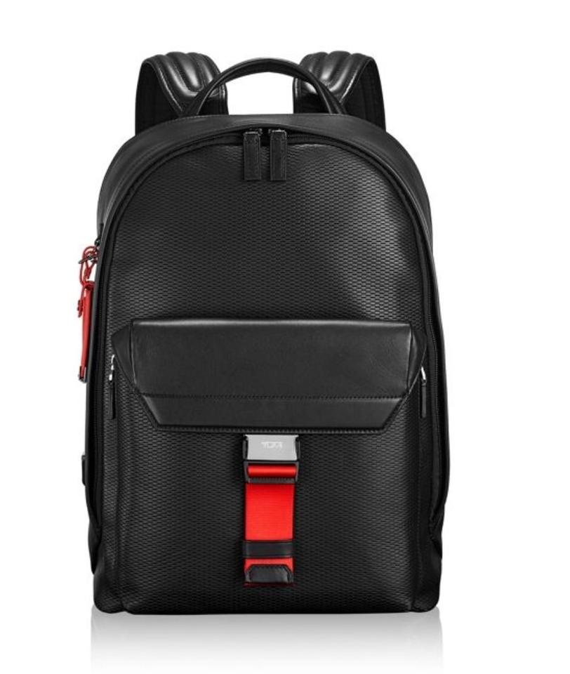Tumi Travel Black and Red Leather Backpack - Tradesy