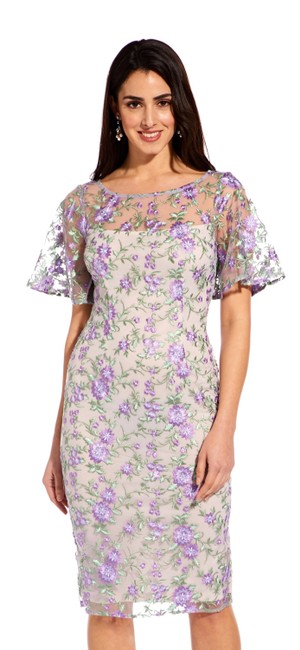 Item - Purple Multi Floral Embroidered Sheath with Sheer Sleeves Short Cocktail Dress Size 4 (S)