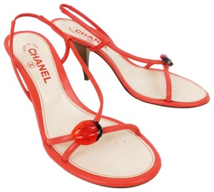 Chanel Strappy Leather Slingback Coral Sandals