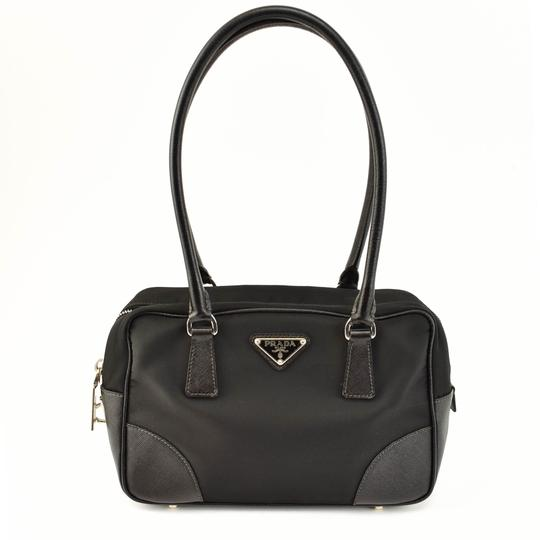 Black Saffiano Leather & Vela Nylon Logo Tote/ (Qu) Shoulder Bag by Prada