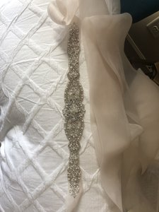 Allure Bridals Champagne/Silver/Pearl/Bling Sash Style 33