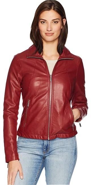 Item - Ruby Red Faux Zip Front Jacket Size 0 (XS)