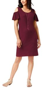 JM Collection short dress Cherry Pie Flutter Sleeve Cold Shoulder Burgundy on Tradesy