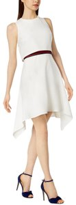 Julia Jordan Asymmetric Hem Popover Sheath Off White Banded Dress