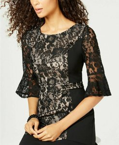 NY Collection Lace Bell Sleeves Ruffle Hem Dress