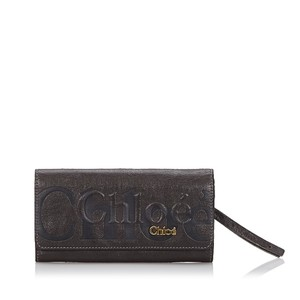 Chloé Chloe Black Leather Eclipse Long Wallet France SMALL