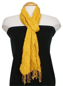 Eileen Fisher Yellow Handloomed Pucker Silk Fringe Scarf