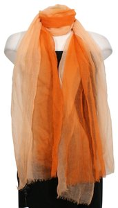 Eileen Fisher Pink Featherweight Ombre Wool Fringe Wrap Scarf