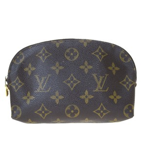 Louis Vuitton Authentic LOUIS VUITTON Cosmetic Pouch Monogram Leather Brown