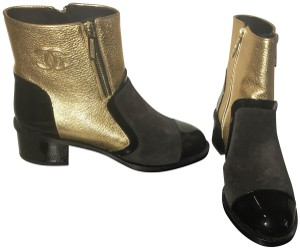 Chanel Gold/Black Boots