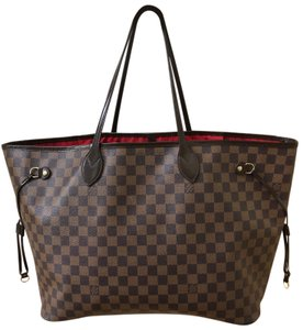 Louis Vuitton Lv Neverfull Neverfull Damier Ebene Lv Shoulder Tote in Brown. Red Interior.