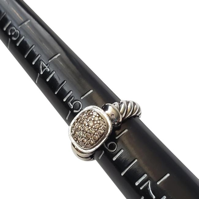 Item - White Gold Silver Noblesse with Pave Diamonds In Sterling Ring